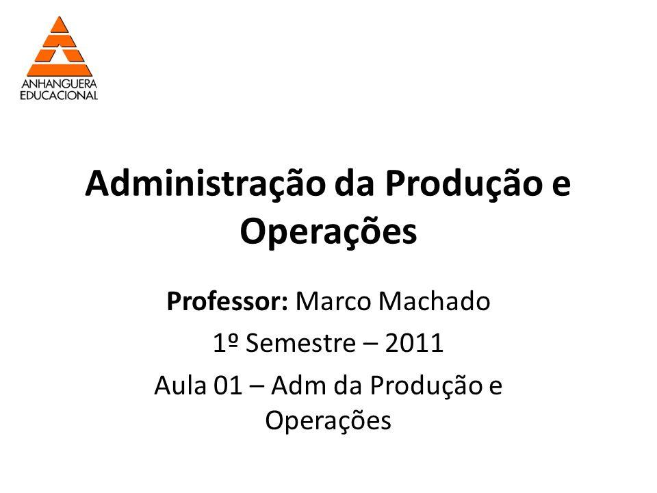 Administração da Produção e Operações Professor: Marco Machado 1º Semestre – 2011 Aula 01 – Adm da Produção e Operações