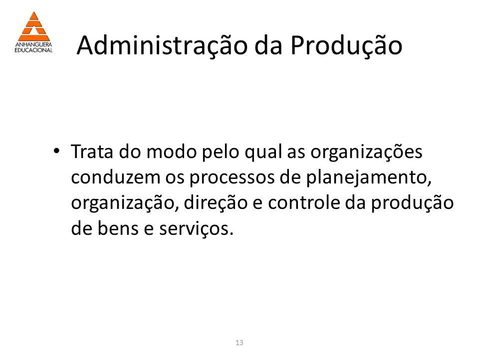 13 Administração da Produção Trata do modo pelo qual as organizações conduzem os processos de planejamento, organização, direção e controle da produção de bens e serviços.