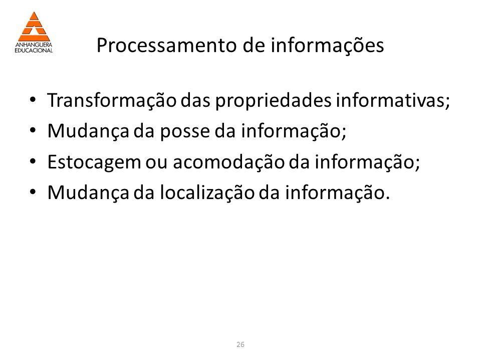 26 Processamento de informações Transformação das propriedades informativas; Mudança da posse da informação; Estocagem ou acomodação da informação; Mudança da localização da informação.