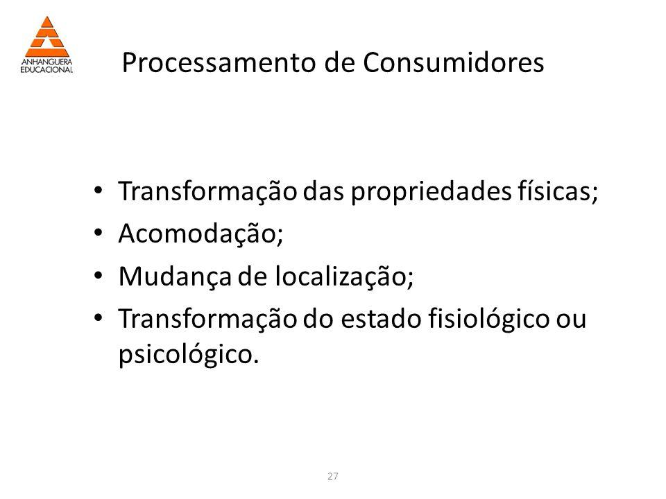 27 Processamento de Consumidores Transformação das propriedades físicas; Acomodação; Mudança de localização; Transformação do estado fisiológico ou psicológico.