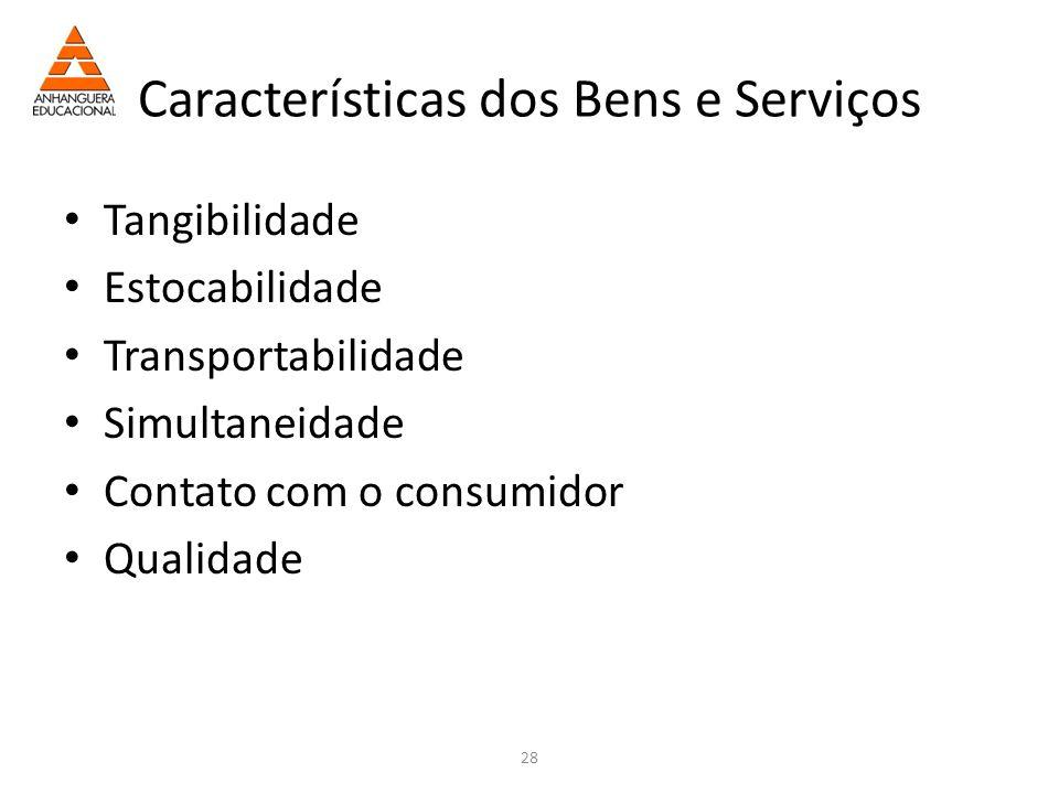 28 Características dos Bens e Serviços Tangibilidade Estocabilidade Transportabilidade Simultaneidade Contato com o consumidor Qualidade