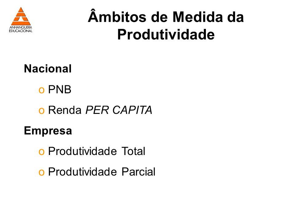 Âmbitos de Medida da Produtividade Nacional o PNB o Renda PER CAPITA Empresa o Produtividade Total o Produtividade Parcial