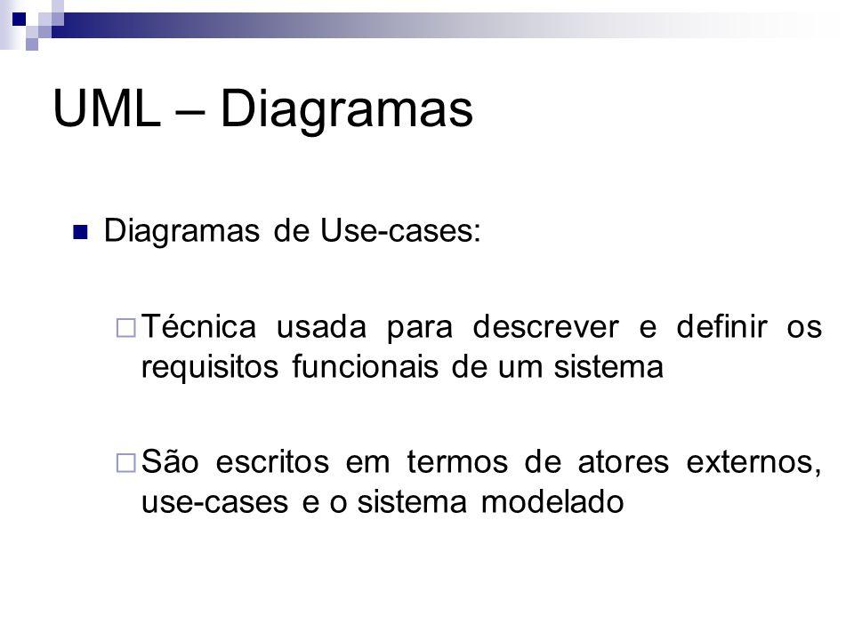 UML – Diagramas Diagramas de Use-cases: Técnica usada para descrever e definir os requisitos funcionais de um sistema São escritos em termos de atores
