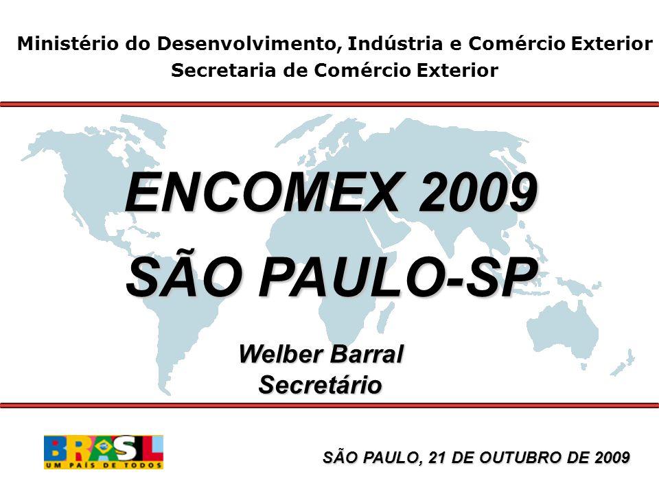 Balança Comercial Brasileira Janeiro-Setembro - 2009/08 US$ milhões FOB 20092008 Δ% 2009/08 Exportação111.798150.860-25,9 Importação90.527131.173-31,0 Saldo21.27119.6878,1 Corrente de Comércio 202.325282.033-28,3
