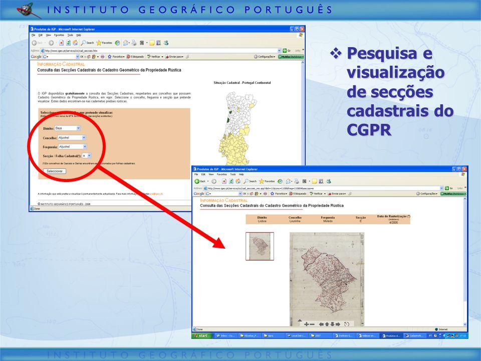 Pesquisa e visualização de secções cadastrais do CGPR Pesquisa e visualização de secções cadastrais do CGPR