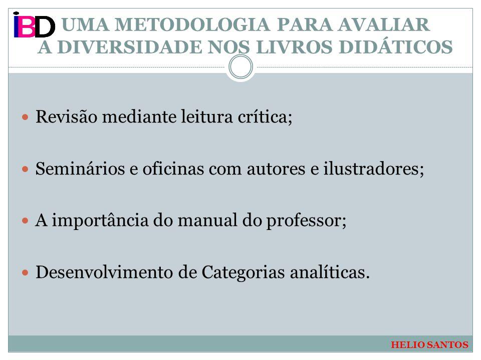 UMA METODOLOGIA PARA AVALIAR A DIVERSIDADE NOS LIVROS DIDÁTICOS Revisão mediante leitura crítica; Seminários e oficinas com autores e ilustradores; A