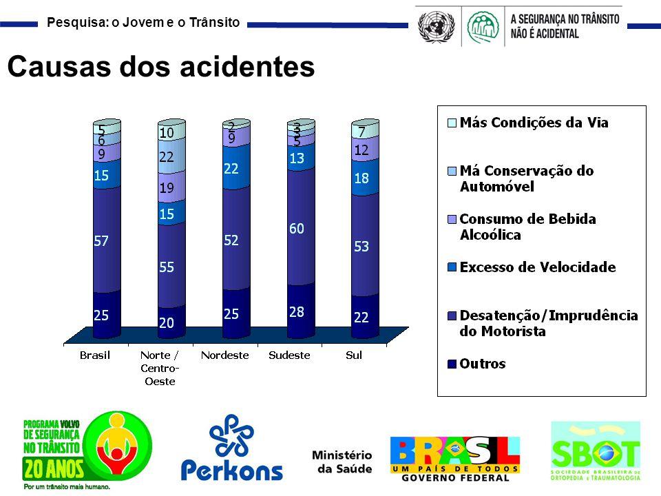 Pesquisa: o Jovem e o Trânsito Causas dos acidentes