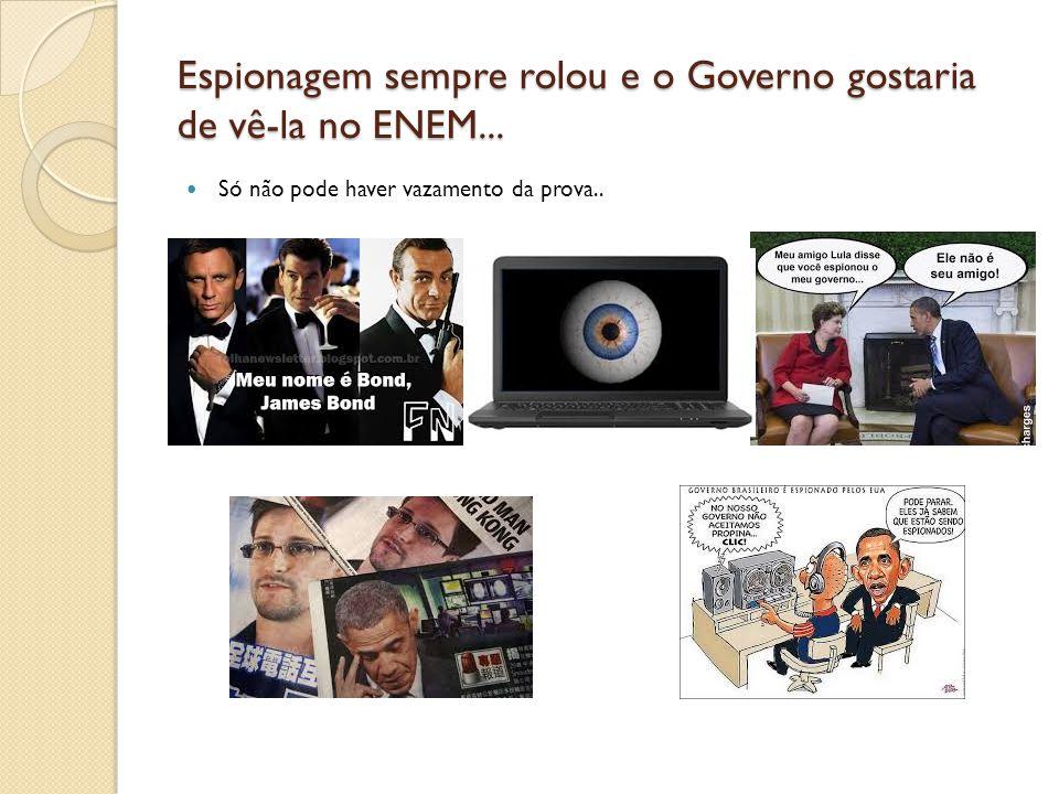 Espionagem sempre rolou e o Governo gostaria de vê-la no ENEM...