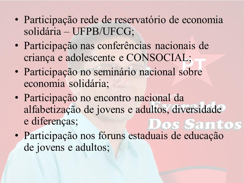 Participação rede de reservatório de economia solidária – UFPB/UFCG; Participação nas conferências nacionais de criança e adolescente e CONSOCIAL; Par