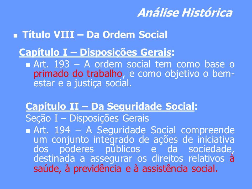 Análise Histórica Título VIII – Da Ordem Social Capítulo I – Disposições Gerais: Art. 193 – A ordem social tem como base o primado do trabalho, e como
