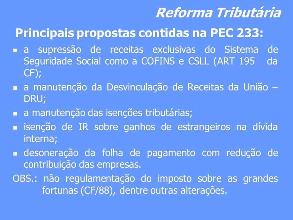 Reforma Tributária a supressão de receitas exclusivas do Sistema de Seguridade Social como a COFINS e CSLL (ART 195 da CF); a manutenção da Desvincula