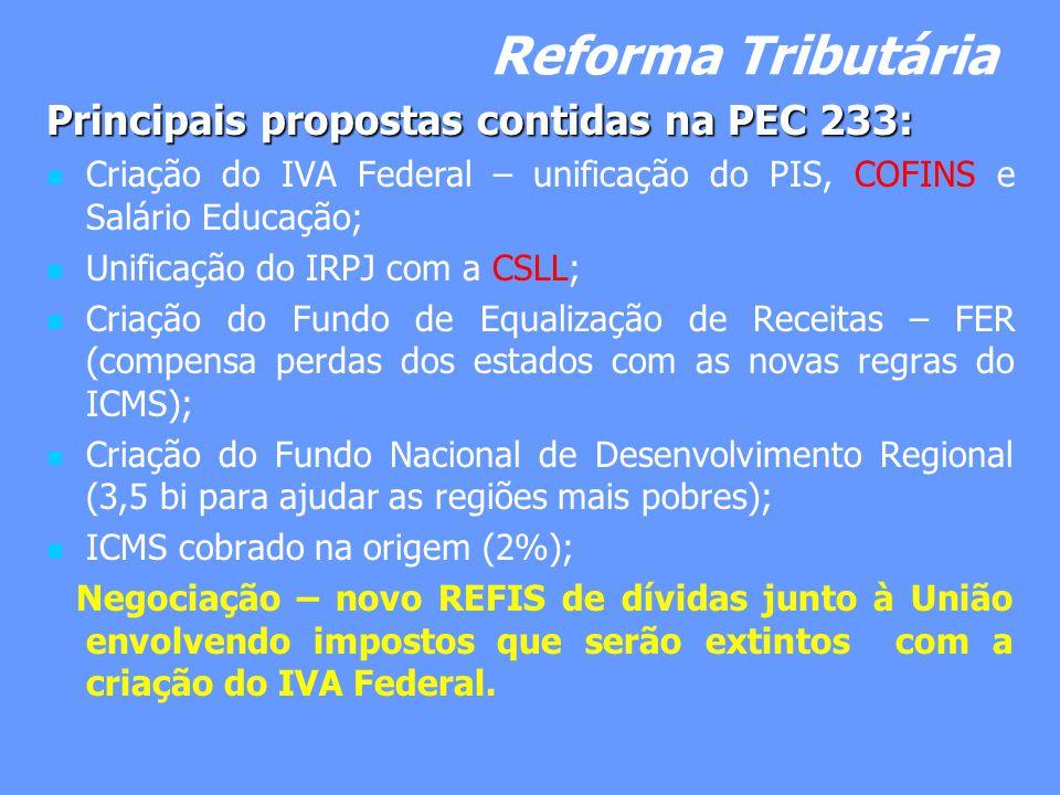Reforma Tributária Principais propostas contidas na PEC 233: Criação do IVA Federal – unificação do PIS, COFINS e Salário Educação; Unificação do IRPJ com a CSLL; Criação do Fundo de Equalização de Receitas – FER (compensa perdas dos estados com as novas regras do ICMS); Criação do Fundo Nacional de Desenvolvimento Regional (3,5 bi para ajudar as regiões mais pobres); ICMS cobrado na origem (2%); Negociação – novo REFIS de dívidas junto à União envolvendo impostos que serão extintos com a criação do IVA Federal.