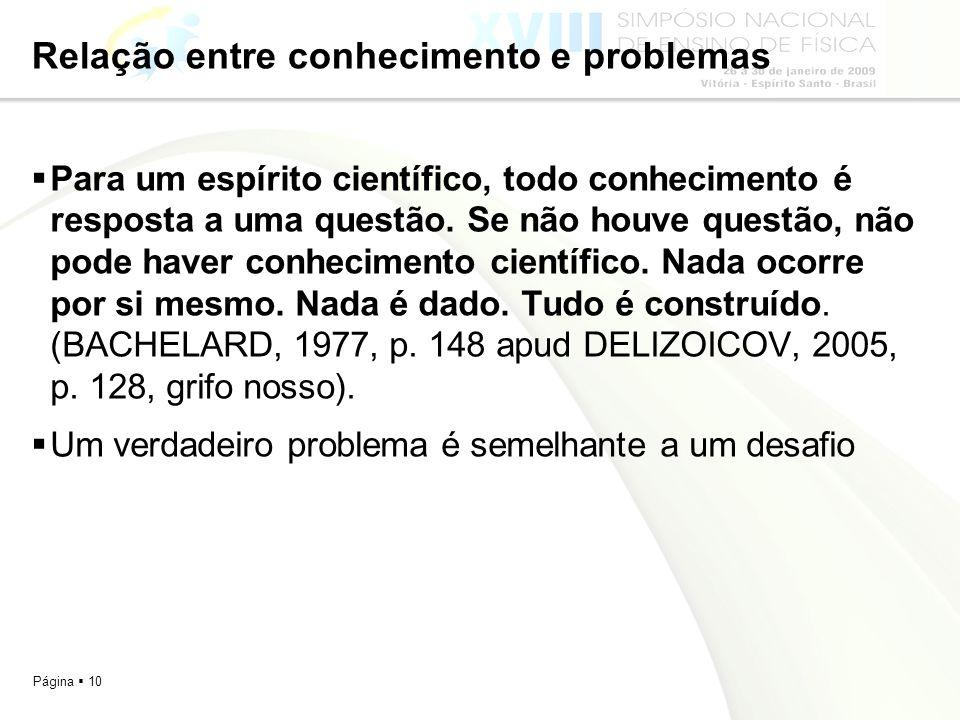 Página 10 Relação entre conhecimento e problemas Para um espírito científico, todo conhecimento é resposta a uma questão. Se não houve questão, não po