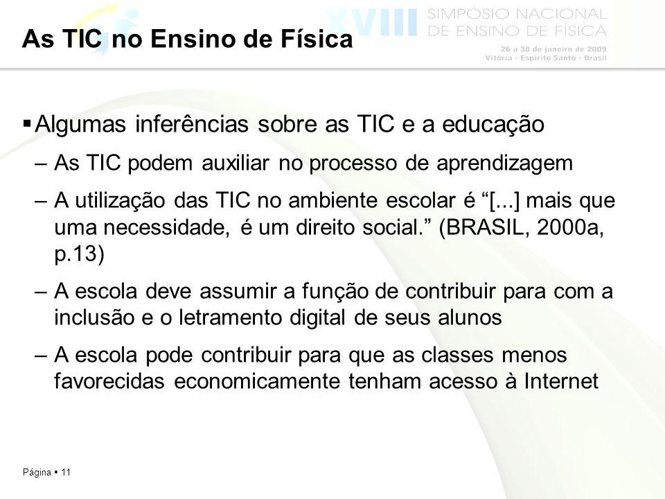 Página 11 As TIC no Ensino de Física Algumas inferências sobre as TIC e a educação –As TIC podem auxiliar no processo de aprendizagem –A utilização da