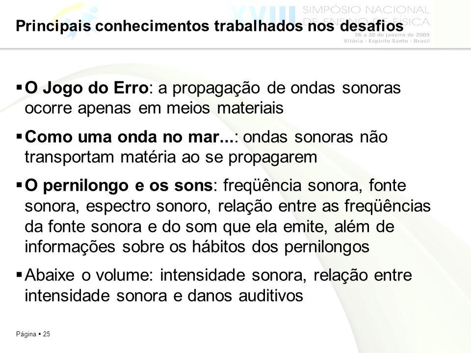 Página 25 Principais conhecimentos trabalhados nos desafios O Jogo do Erro: a propagação de ondas sonoras ocorre apenas em meios materiais Como uma on