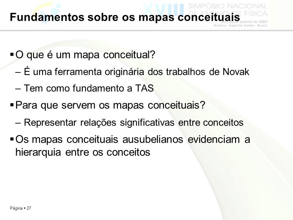 Página 27 Fundamentos sobre os mapas conceituais O que é um mapa conceitual? –É uma ferramenta originária dos trabalhos de Novak –Tem como fundamento
