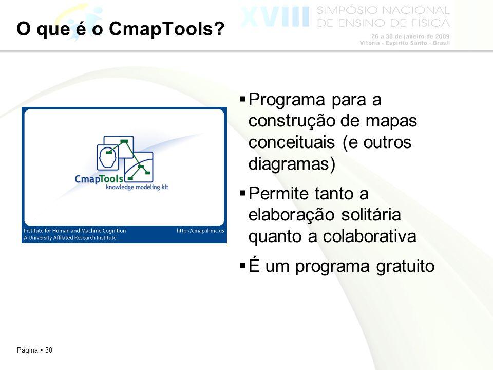 Página 30 O que é o CmapTools? Programa para a construção de mapas conceituais (e outros diagramas) Permite tanto a elaboração solitária quanto a cola