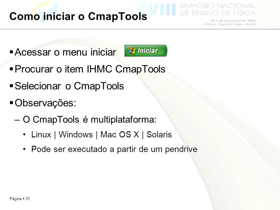 Página 31 Como iniciar o CmapTools Acessar o menu iniciar Procurar o item IHMC CmapTools Selecionar o CmapTools Observações: –O CmapTools é multiplata