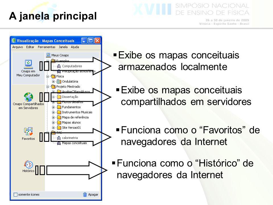 Página 32 A janela principal Exibe os mapas conceituais armazenados localmente Exibe os mapas conceituais compartilhados em servidores Funciona como o