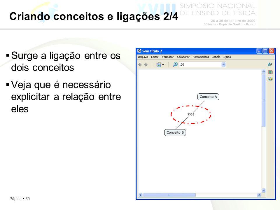 Página 35 Criando conceitos e ligações 2/4 Surge a ligação entre os dois conceitos Veja que é necessário explicitar a relação entre eles