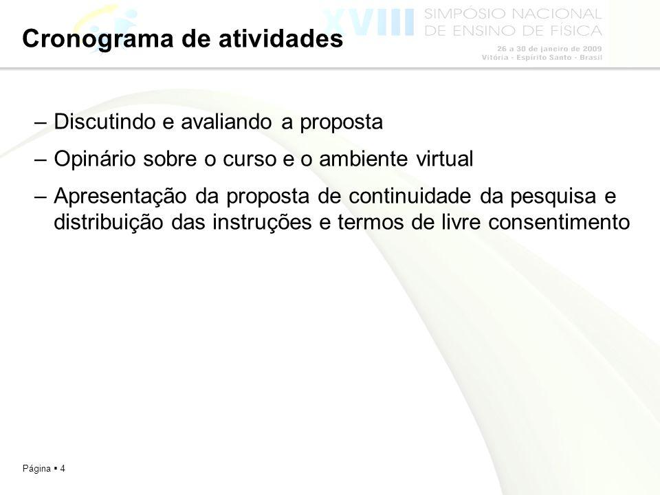 Página 4 Cronograma de atividades –Discutindo e avaliando a proposta –Opinário sobre o curso e o ambiente virtual –Apresentação da proposta de continu