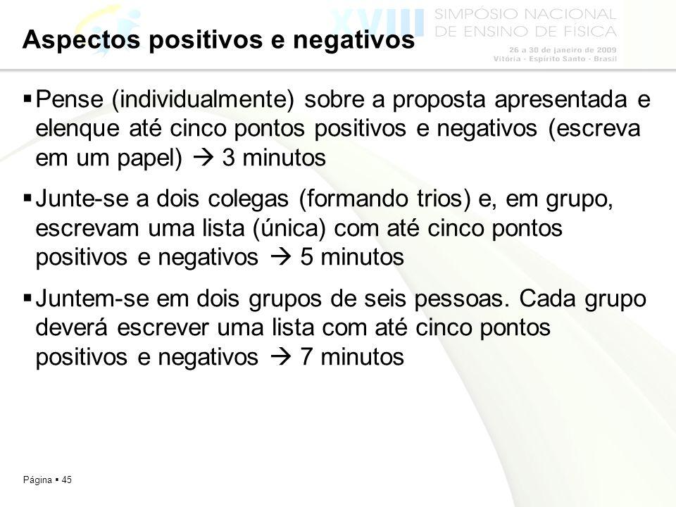 Página 45 Aspectos positivos e negativos Pense (individualmente) sobre a proposta apresentada e elenque até cinco pontos positivos e negativos (escrev