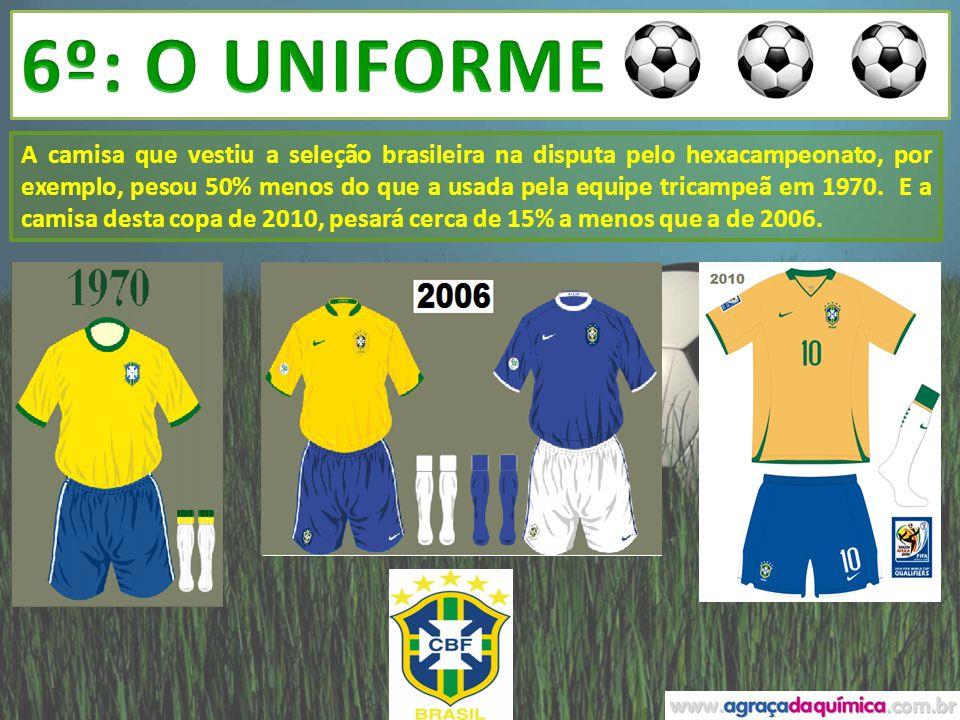 A camisa que vestiu a seleção brasileira na disputa pelo hexacampeonato, por exemplo, pesou 50% menos do que a usada pela equipe tricampeã em 1970. E