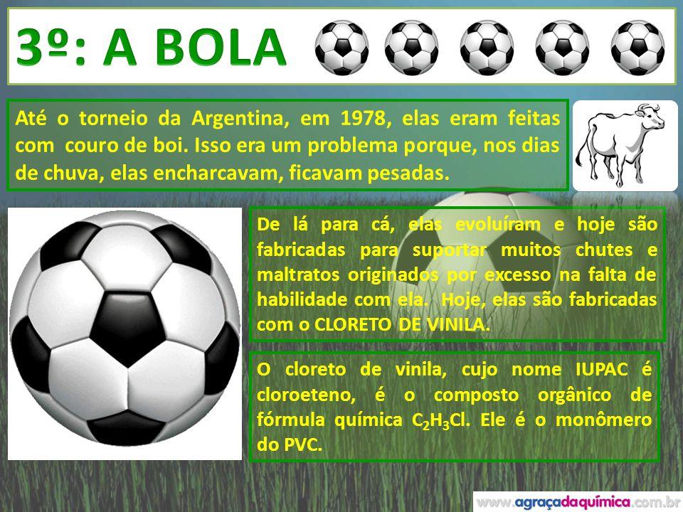 O poli (cloreto de vinila), conhecido como PVC, que substituiu com vantagens o couro de procedência animal na fabricação do artigo mais essencial a qualquer partida de futebol.