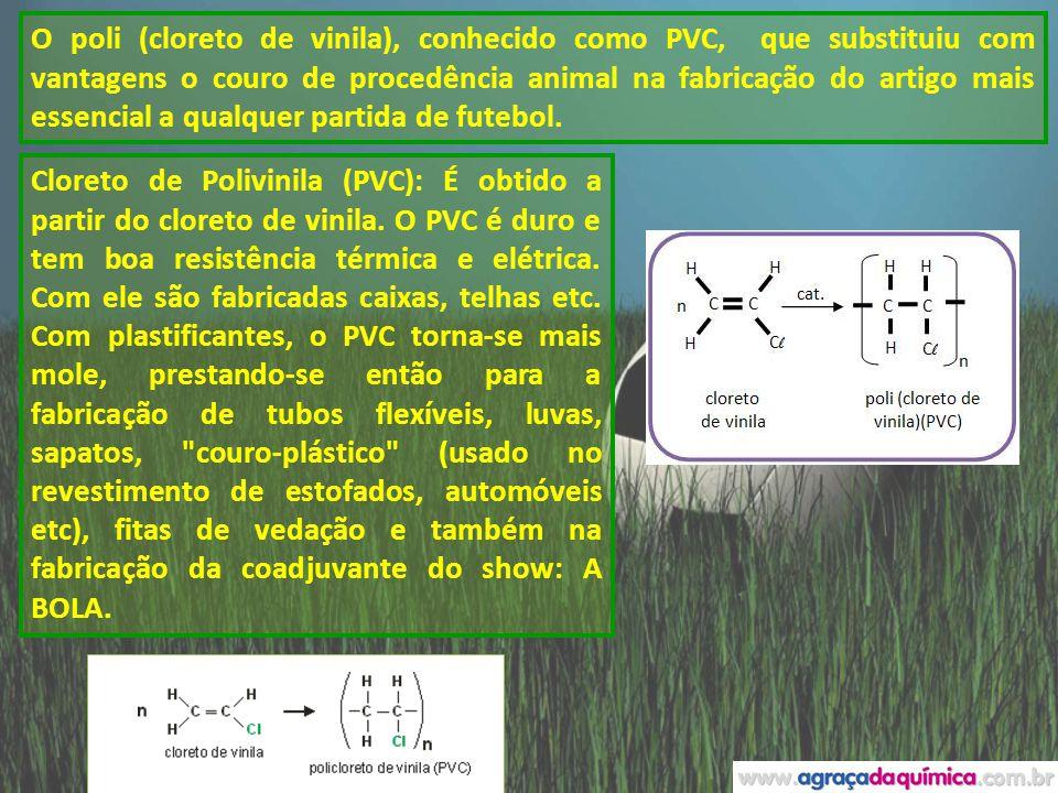 O poli (cloreto de vinila), conhecido como PVC, que substituiu com vantagens o couro de procedência animal na fabricação do artigo mais essencial a qu