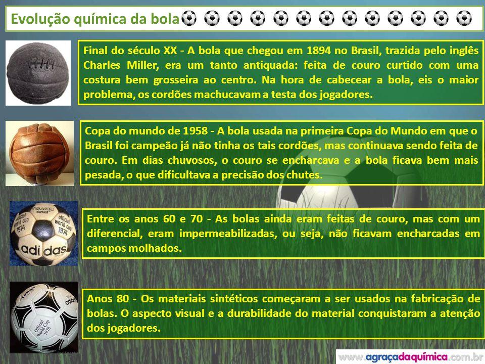 Evolução química da bola Final do século XX - A bola que chegou em 1894 no Brasil, trazida pelo inglês Charles Miller, era um tanto antiquada: feita d