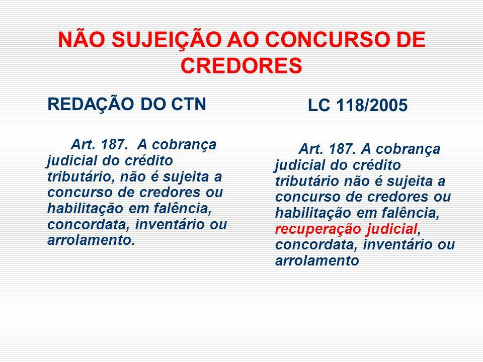 NÃO SUJEIÇÃO AO CONCURSO DE CREDORES REDAÇÃO DO CTN Art. 187. A cobrança judicial do crédito tributário, não é sujeita a concurso de credores ou habil