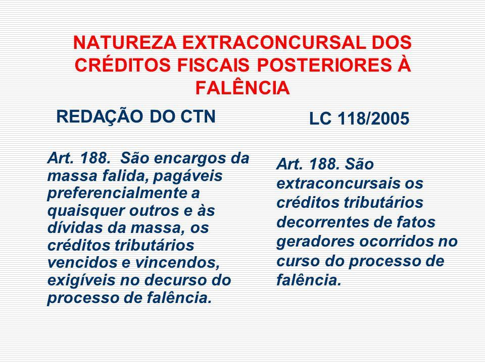 NATUREZA EXTRACONCURSAL DOS CRÉDITOS FISCAIS POSTERIORES À FALÊNCIA REDAÇÃO DO CTN Art. 188. São encargos da massa falida, pagáveis preferencialmente