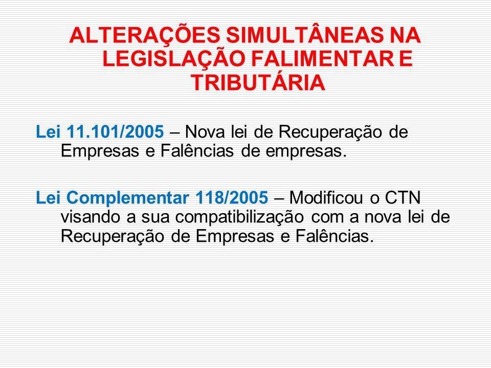 ALTERAÇÕES SIMULTÂNEAS NA LEGISLAÇÃO FALIMENTAR E TRIBUTÁRIA Lei 11.101/2005 – Nova lei de Recuperação de Empresas e Falências de empresas. Lei Comple
