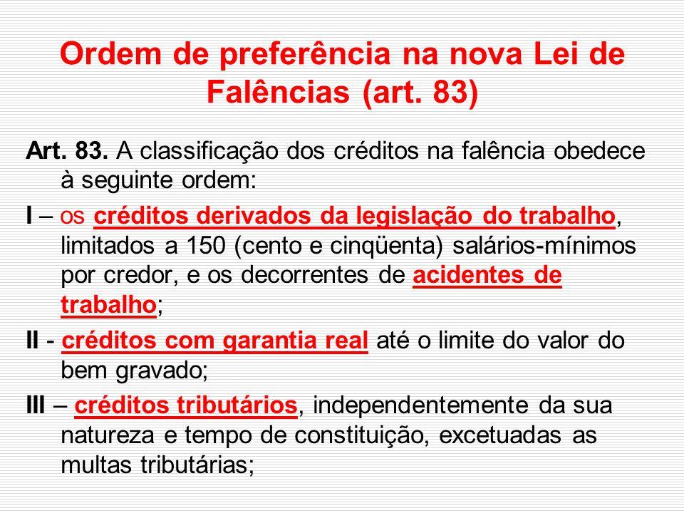 Ordem de preferência na nova Lei de Falências (art. 83) Art. 83. A classificação dos créditos na falência obedece à seguinte ordem: I – os créditos de