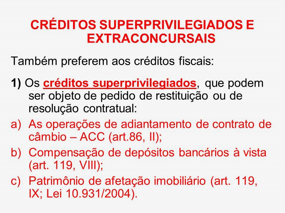 CRÉDITOS SUPERPRIVILEGIADOS E EXTRACONCURSAIS Também preferem aos créditos fiscais: 1) Os créditos superprivilegiados, que podem ser objeto de pedido