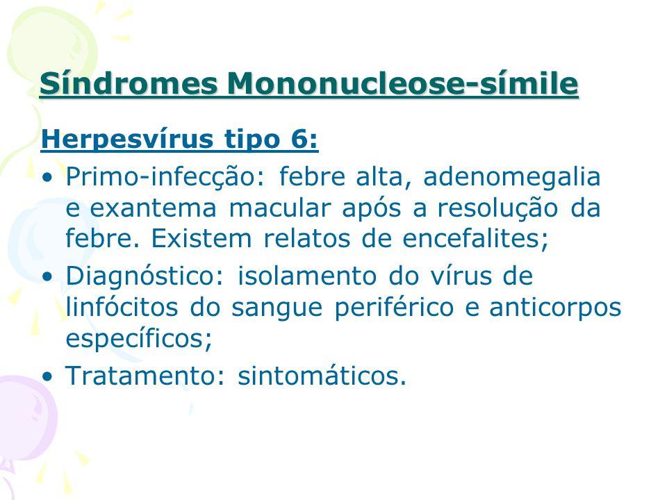 Síndromes Mononucleose-símile Herpesvírus tipo 6: Primo-infecção: febre alta, adenomegalia e exantema macular após a resolução da febre.