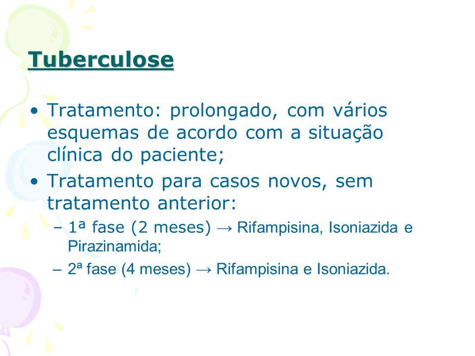 Tuberculose Tratamento: prolongado, com vários esquemas de acordo com a situação clínica do paciente; Tratamento para casos novos, sem tratamento anterior: –1ª fase (2 meses) Rifampisina, Isoniazida e Pirazinamida; –2ª fase (4 meses) Rifampisina e Isoniazida.