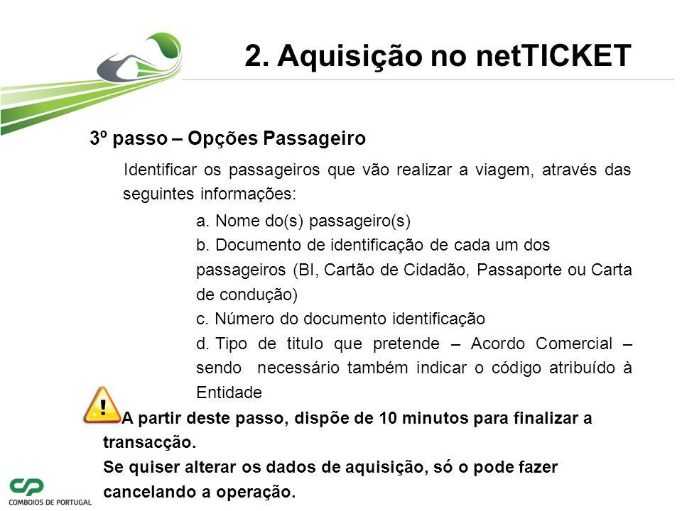 3º passo – Opções Passageiro 2.