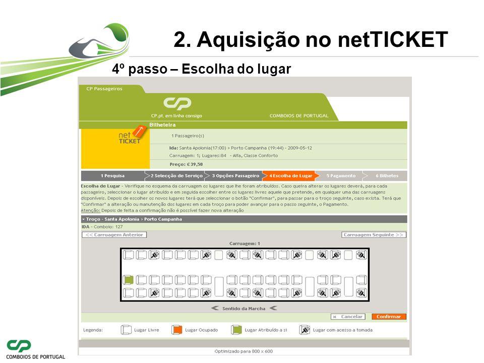 4º passo – Escolha do lugar 2. Aquisição no netTICKET