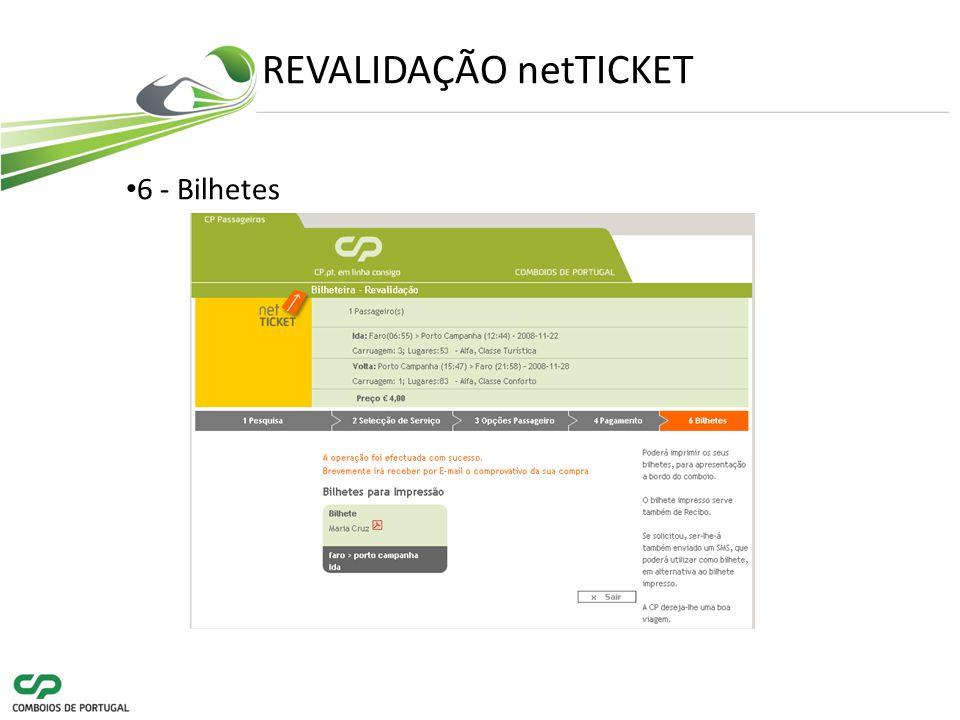 REVALIDAÇÃO netTICKET 6 - Bilhetes