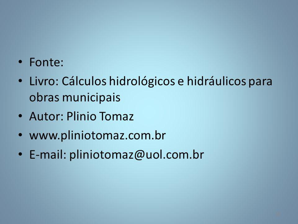 Fonte: Livro: Cálculos hidrológicos e hidráulicos para obras municipais Autor: Plinio Tomaz www.pliniotomaz.com.br E-mail: pliniotomaz@uol.com.br 12