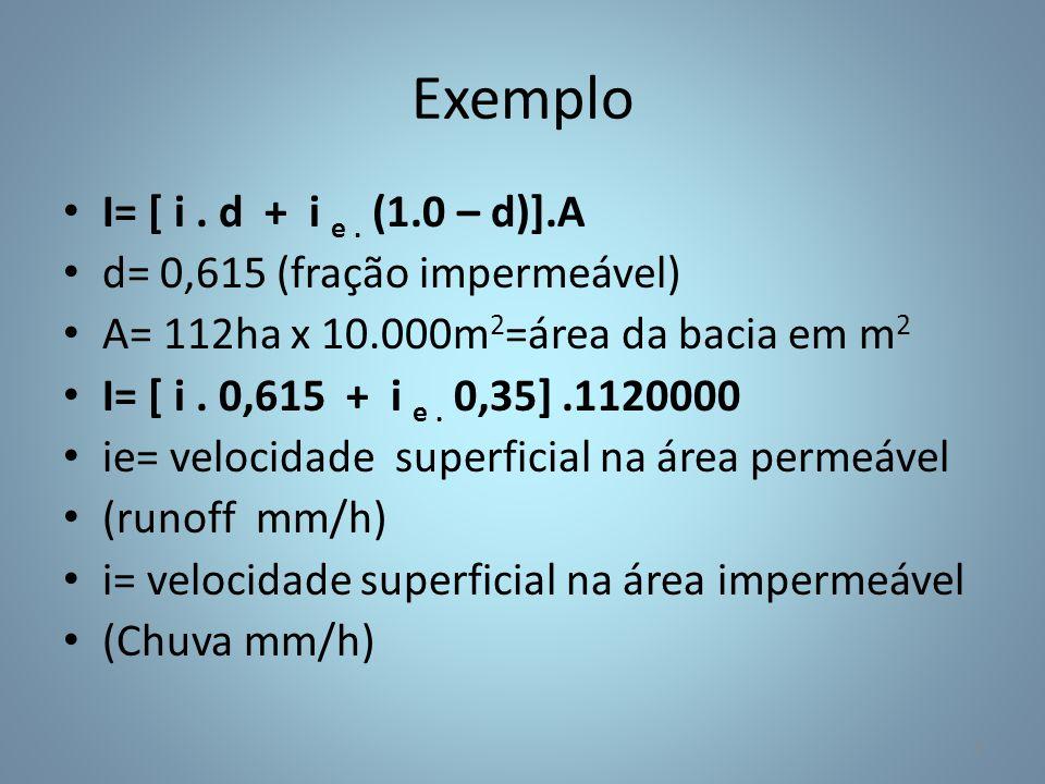 Exemplo I= [ i. d + i e. (1.0 – d)].A d= 0,615 (fração impermeável) A= 112ha x 10.000m 2 =área da bacia em m 2 I= [ i. 0,615 + i e. 0,35].1120000 ie=