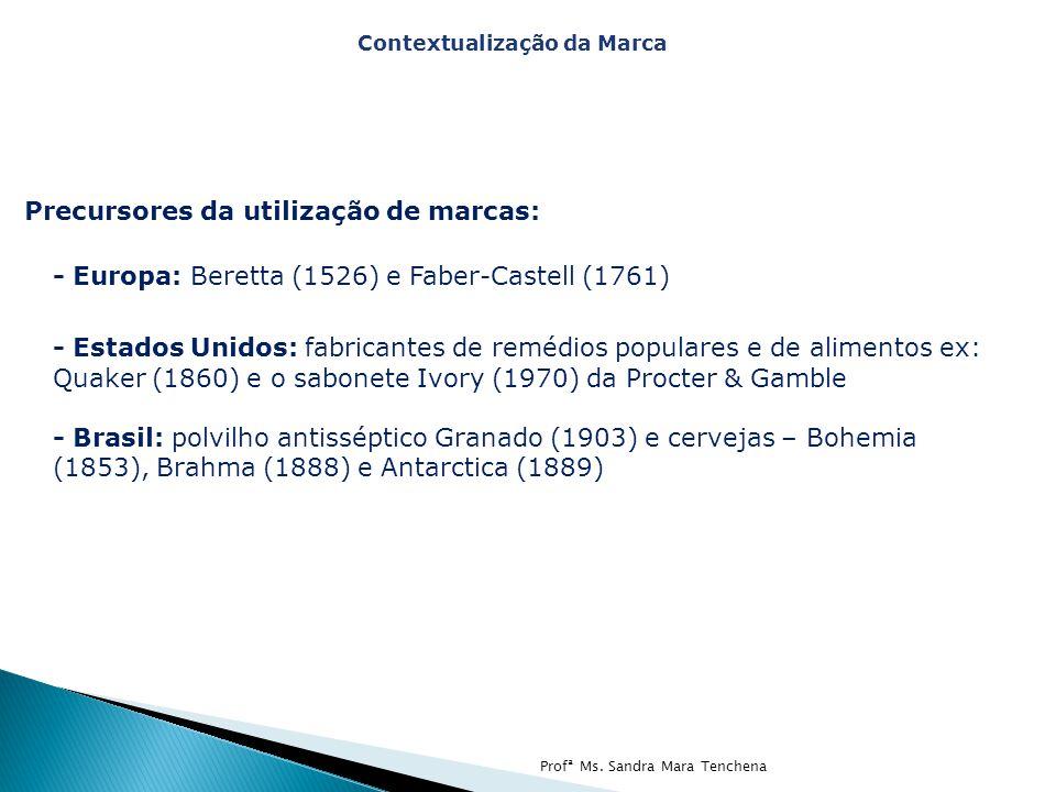 Precursores da utilização de marcas: - Europa: Beretta (1526) e Faber-Castell (1761) - Estados Unidos: fabricantes de remédios populares e de alimento