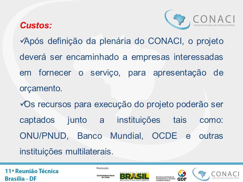 Custos: Após definição da plenária do CONACI, o projeto deverá ser encaminhado a empresas interessadas em fornecer o serviço, para apresentação de orçamento.