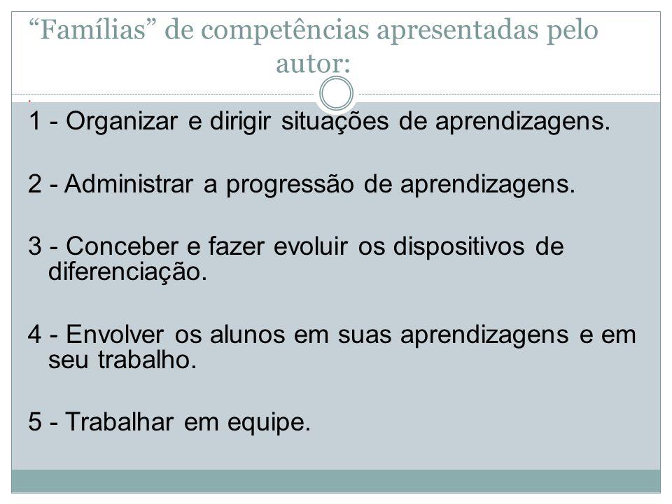 Famílias de competências apresentadas pelo autor: 1 - Organizar e dirigir situações de aprendizagens. 2 - Administrar a progressão de aprendizagens. 3