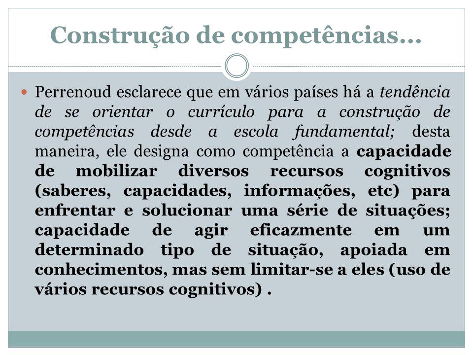 Construção de competências... Perrenoud esclarece que em vários países há a tendência de se orientar o currículo para a construção de competências des