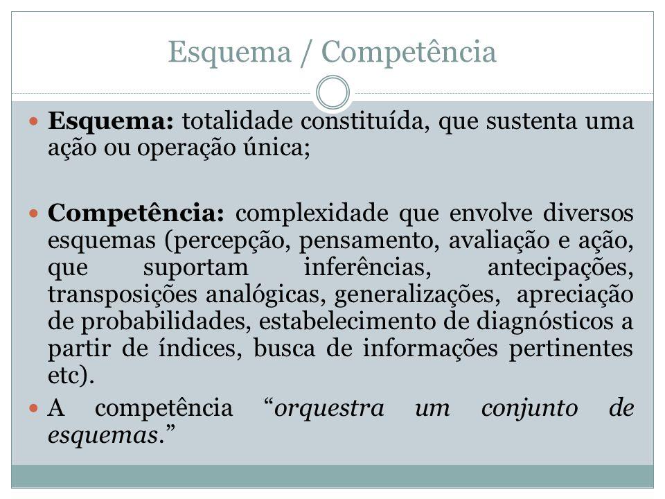 Esquema / Competência Esquema: totalidade constituída, que sustenta uma ação ou operação única; Competência: complexidade que envolve diversos esquema