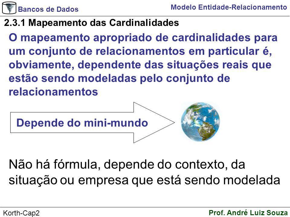 Bancos de Dados Prof. André Luiz Souza Korth-Cap2 Modelo Entidade-Relacionamento 2.3.1 Mapeamento das Cardinalidades O mapeamento apropriado de cardin