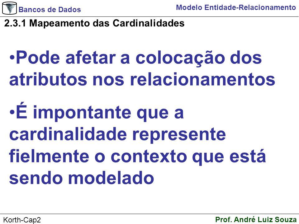 Bancos de Dados Prof. André Luiz Souza Korth-Cap2 Modelo Entidade-Relacionamento 2.3.1 Mapeamento das Cardinalidades Pode afetar a colocação dos atrib