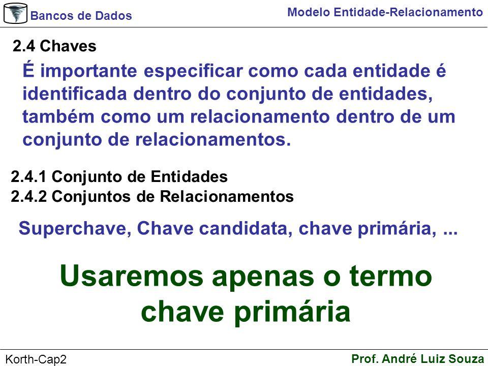 Bancos de Dados Prof. André Luiz Souza Korth-Cap2 Modelo Entidade-Relacionamento 2.4 Chaves É importante especificar como cada entidade é identificada